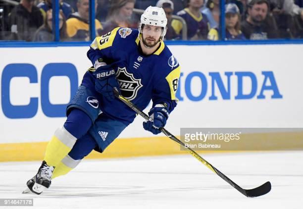 Nikita Kucherov of the Tampa Bay Lightning plays in the 2018 Honda NHL AllStar Game between the Atlantic Division and the Metropolitan Divison at...