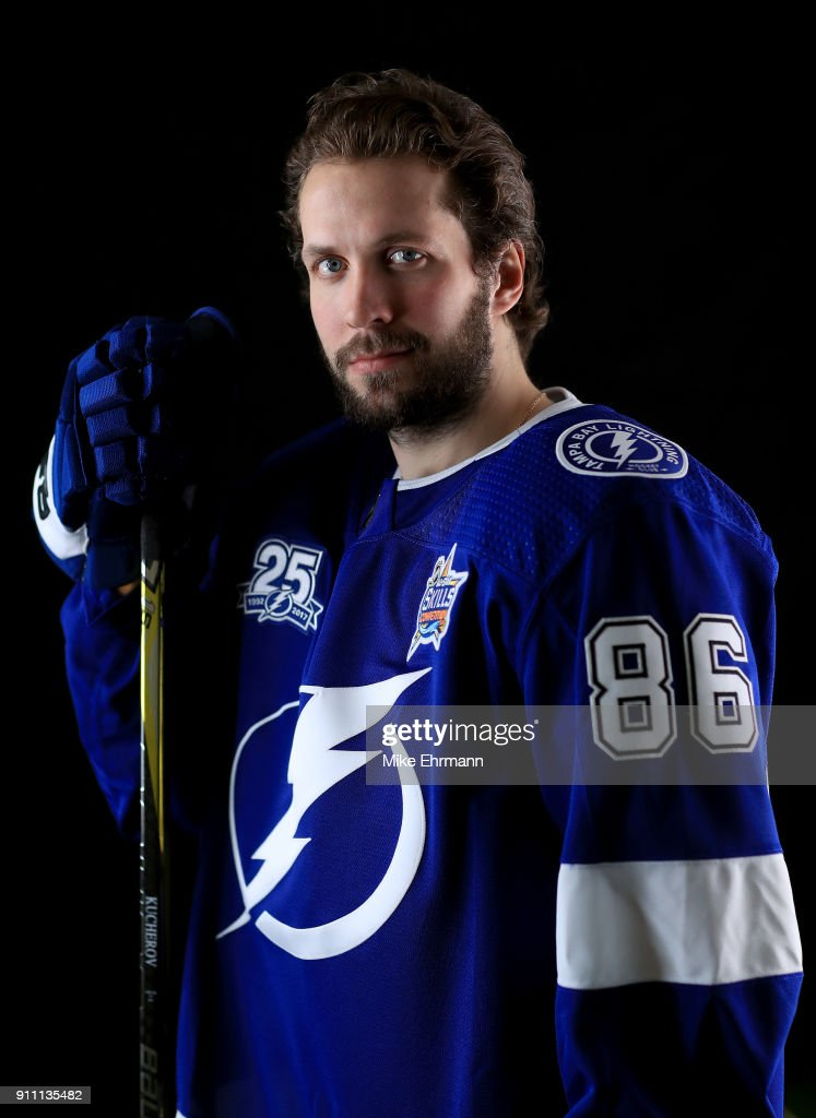 Nikita Kucherov #86 of the Tampa Bay Lightning poses for a portrait during the 2018 NHL All-Star at Amalie Arena on January 27, 2018 in Tampa, Florida.