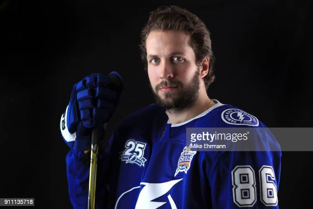 Nikita Kucherov of the Tampa Bay Lightning poses for a portrait during the 2018 NHL AllStar at Amalie Arena on January 27 2018 in Tampa Florida