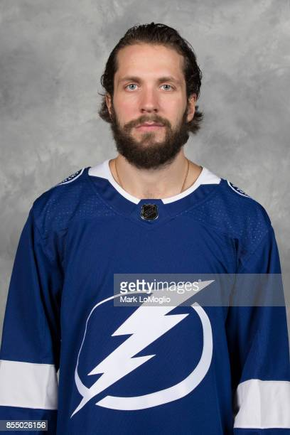 Nikita Kucherov of the Tampa Bay Lightning poses for his official headshot for the 20172018 season on September 14 2017 at Amalie Arena in Tampa...
