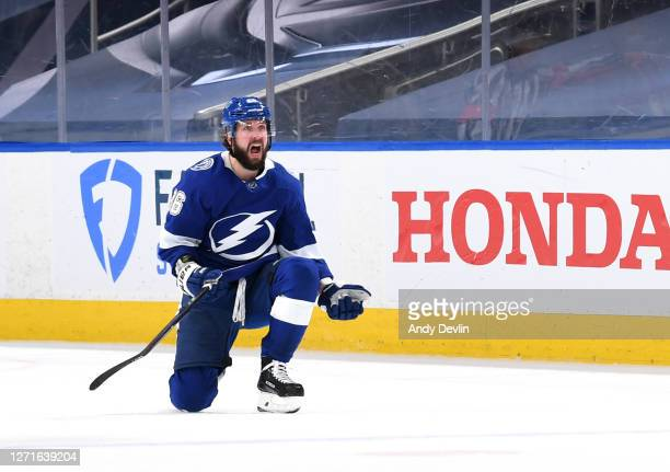 Nikita Kucherov of the Tampa Bay Lightning reacts after Kucherov scored a goal for the 2-1 lead with 9 seconds left in the third period of Game Two...