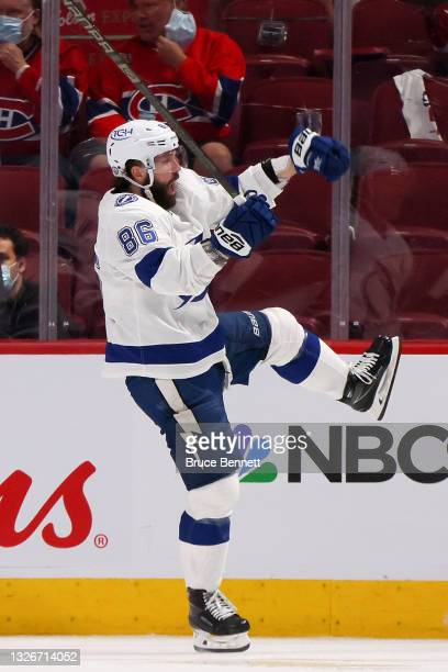 Nikita Kucherov of the Tampa Bay Lightning reacts after scoring against Carey Price of the Montreal Canadiens during the second period in Game Three...