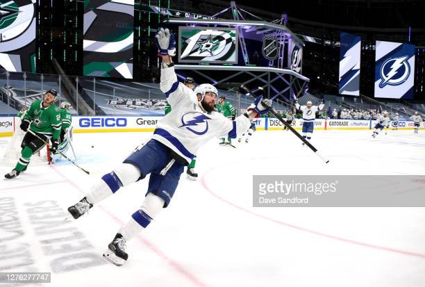 Nikita Kucherov of the Tampa Bay Lightning reacts after scoring on a breakaway from the blue line in during the first period of Game Three of the NHL...