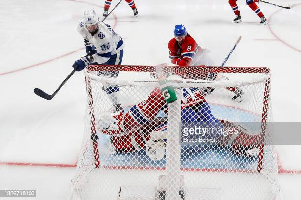 Nikita Kucherov of the Tampa Bay Lightning scores a goal against Carey Price of the Montreal Canadiens during the second period in Game Three of the...