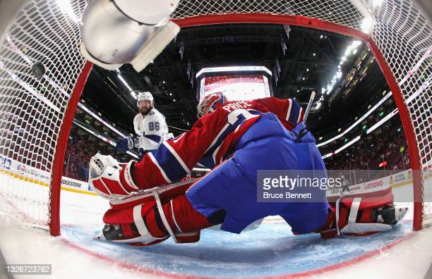 Nikita Kucherov of the Tampa Bay Lightning scores at 1:40 of the second period against Carey Price of the Montreal Canadiens in Game Three of the...