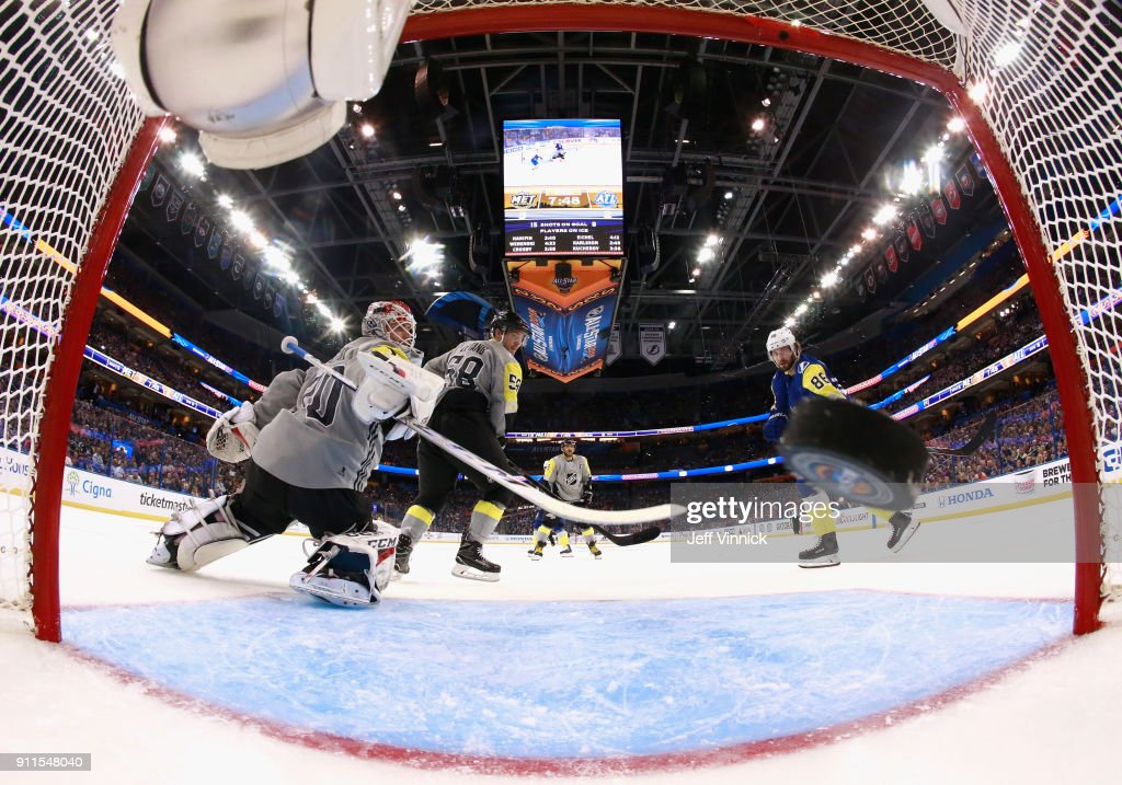 Nikita Kucherov #86 of the Tampa Bay Lightning scores on goaltender Braden Holtby #70 of the Washington Capitals during the 2018 Honda NHL All-Star Game at Amalie Arena on January 28, 2018 in Tampa, Florida.