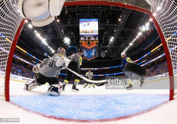 Nikita Kucherov of the Tampa Bay Lightning scores on goaltender Braden Holtby of the Washington Capitals during the 2018 Honda NHL AllStar Game at...