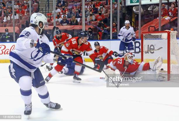 Nikita Kucherov of the Tampa Bay Lightning scores on the powerplay at 14:51 of the second period against Sergei Bobrovsky of the Florida Panthers in...