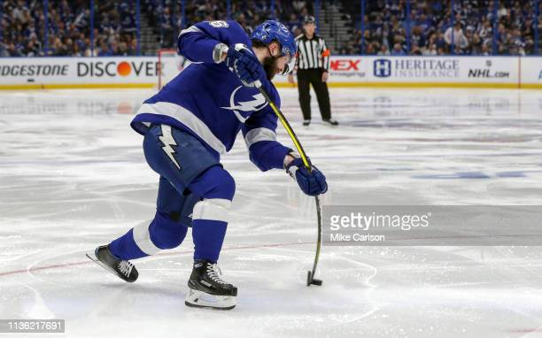 Nikita Kucherov of the Tampa Bay Lightning shoots against the Columbus Blue Jackets during the second period in Game One of the Eastern Conference...