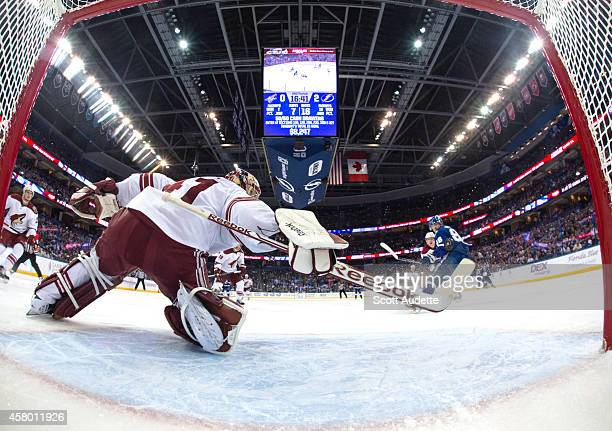 Nikita Kucherov of the Tampa Bay Lightning shoots the puck by goalie Mike Smith of the Arizona Coyotes during the second period at the Amalie Arena...