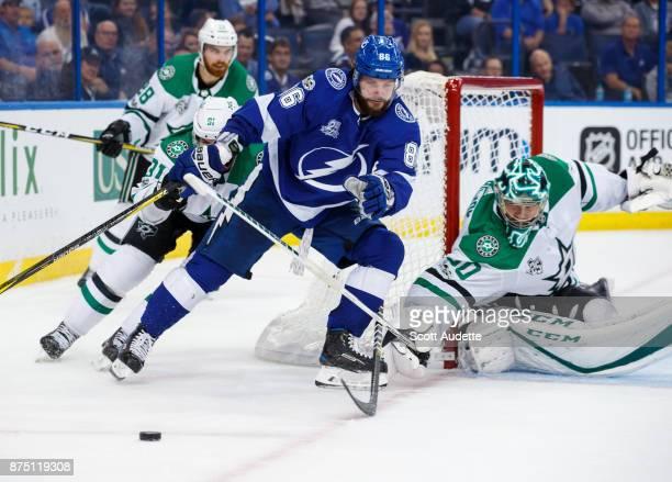 Nikita Kucherov of the Tampa Bay Lightning skates against goalie Ben Bishop of the Dallas Stars during the third period at Amalie Arena on November...