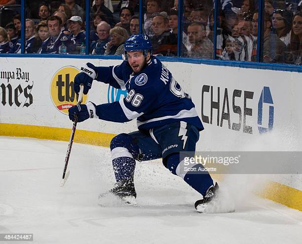 Nikita Kucherov of the Tampa Bay Lightning skates against the Montreal Canadiens at the Tampa Bay Times Forum on April 1 2014 in Tampa Florida