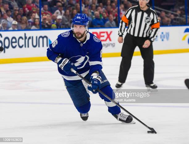 Nikita Kucherov of the Tampa Bay Lightning skates against the Chicago Blackhawks during the third period at Amalie Arena on February 27, 2020 in...