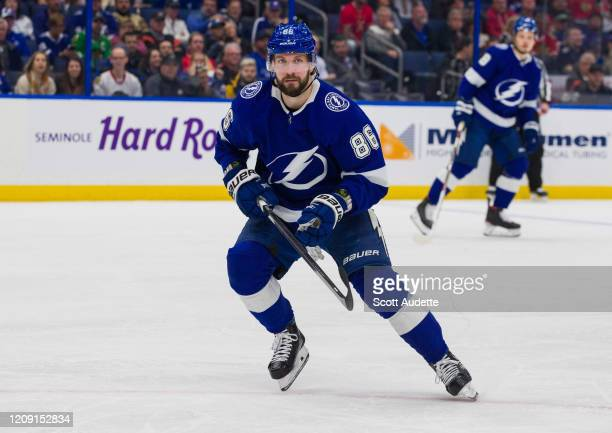 Nikita Kucherov of the Tampa Bay Lightning skates against the Chicago Blackhawks during the first period at Amalie Arena on February 27, 2020 in...