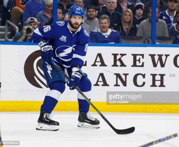 Nikita Kucherov of the Tampa Bay Lightning skates against the Philadelphia Flyers during the first period at Amalie Arena on December 29 2017 in...