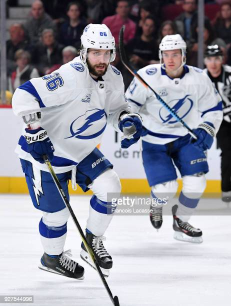 Nikita Kucherov of the Tampa Bay Lightning skates against the Montreal Canadiens in the NHL game at the Bell Centre on February 24 2018 in Montreal...