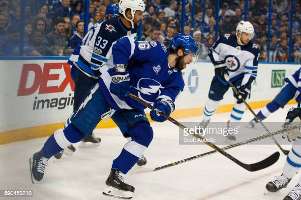Nikita Kucherov of the Tampa Bay Lightning skates against the Winnipeg Jets during the first period at Amalie Arena on December 9 2017 in Tampa...