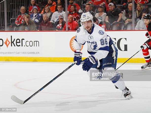 Nikita Kucherov of the Tampa Bay Lightning skates against the New Jersey Devils at the Prudential Center on February 26 2016 in Newark New Jersey The...