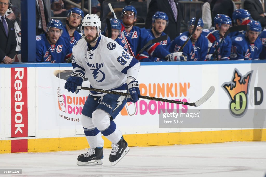 Nikita Kucherov #86 of the Tampa Bay Lightning skates against the New York Rangers at Madison Square Garden on March 13, 2017 in New York City.