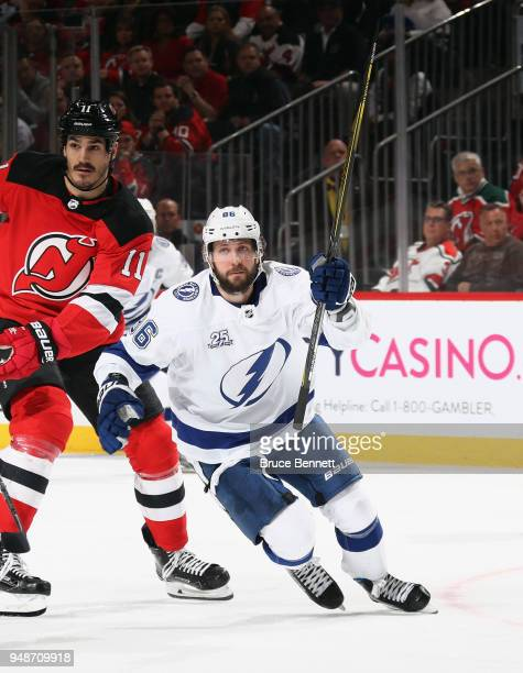 Nikita Kucherov of the Tampa Bay Lightning skates against the New Jersey Devils in Game Four of the Eastern Conference First Round during the 2018...