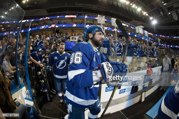 Nikita Kucherov of the Tampa Bay Lightning skates against the New Jersey Devils in Game Five of the Eastern Conference First Round during the 2018...
