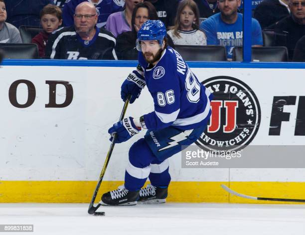 Nikita Kucherov of the Tampa Bay Lightning skates against the Montreal Canadiens during the first period at Amalie Arena on December 28 2017 in Tampa...