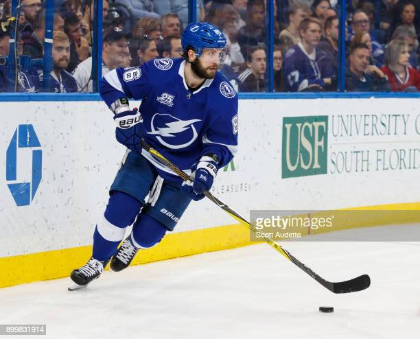 Nikita Kucherov of the Tampa Bay Lightning skates against the Montreal Canadiens during the second period at Amalie Arena on December 28 2017 in...