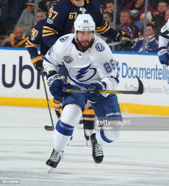 Nikita Kucherov of the Tampa Bay Lightning skates up ice during an NHL game against the Buffalo Sabres on November 28 2017 at KeyBank Center in...