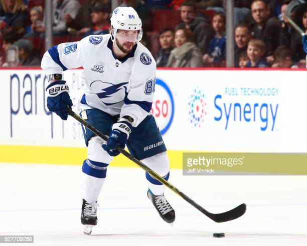 Nikita Kucherov of the Tampa Bay Lightning skates up ice during their NHL game against the Vancouver Canucks at Rogers Arena February 3 2018 in...