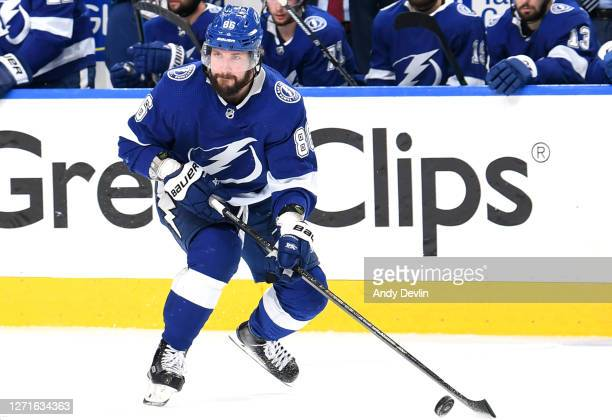 Nikita Kucherov of the Tampa Bay Lightning skates with the puck in the second period of Game Two of the Eastern Conference Final of the 2020 NHL...