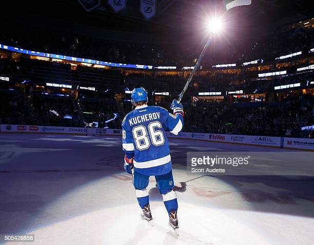 Nikita Kucherov of the Tampa Bay Lightning thanks fans for their support after being named the number one star of the game against the Florida...