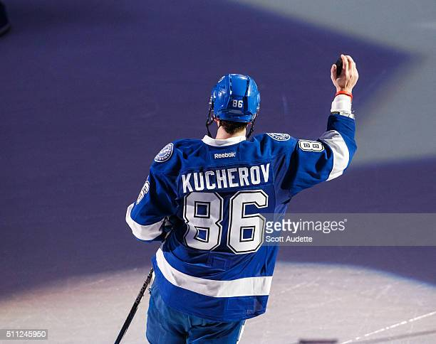 Nikita Kucherov of the Tampa Bay Lightning thanks fans for their support after the win against the Winnipeg Jets at the Amalie Arena on February 18...