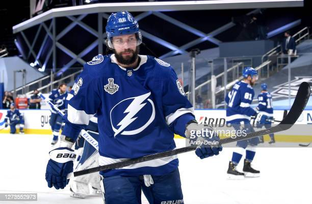 Nikita Kucherov of the Tampa Bay Lightning warms up before Game One of the NHL Stanley Cup Final between the Dallas Stars and the Tampa Bay Lightning...