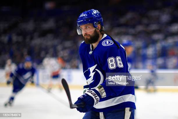 Nikita Kucherov of the Tampa Bay Lightning warms up prior to Game Five of the Stanley Cup Semifinals during the 2021 Stanley Cup Playoffs against the...