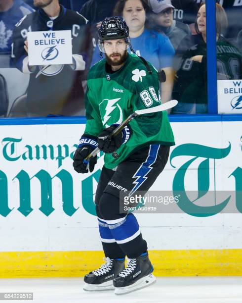 cba715360 Nikita Kucherov of the Tampa Bay Lightning wears a green St Patrick's Day  warmup jersey as