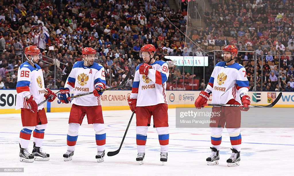 Nikita Kucherov #86, Pavel Datsyuk #13, Vladimir Tarasenko #91 and Andrei Markov #79 of Team Russia talk between whistles during the World Cup of Hockey 2016 at Air Canada Centre on September 19, 2016 in Toronto, Ontario, Canada.