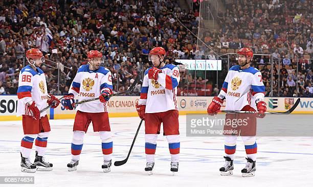 Nikita Kucherov Pavel Datsyuk Vladimir Tarasenko and Andrei Markov of Team Russia talk between whistles during the World Cup of Hockey 2016 at Air...