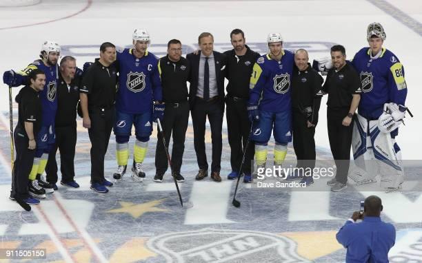 Nikita Kucherov Steven Stamkos head coach Jon Cooper Brayden Point Andrei Vasilevskiy and members of the Tampa Bay Lightning team pose for a photo...