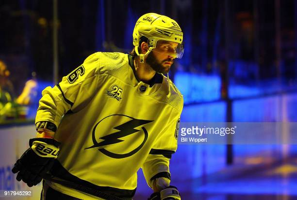 Nikita Kucherov warms up before an NHL game on February 13 2018 at KeyBank Center in Buffalo New York
