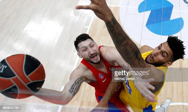 Nikita Kurbanov #41 of CSKA Moscow competes with Jonah Bolden #43 of Maccabi Fox Tel Aviv in action during the 2017/2018 Turkish Airlines EuroLeague...