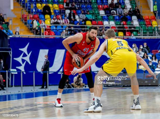 Nikita Kurbanov #41 of CSKA Moscow in action against Alba Berlin during the Turkish Airlines EuroLeague Round 4 of 20202021 season at the Megasport...