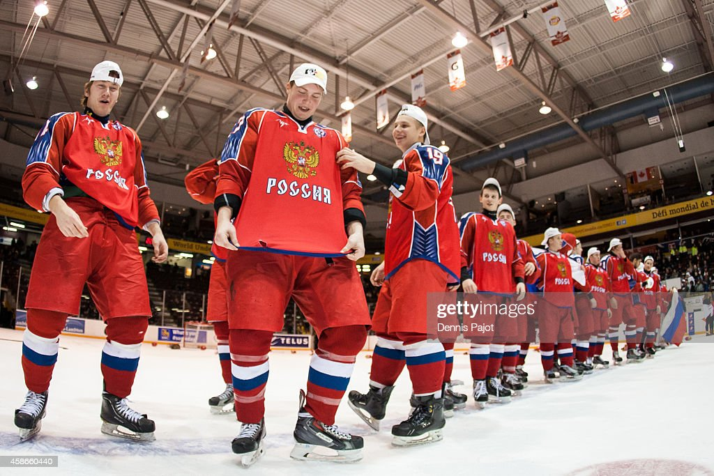 Nikita Makeyev #10 of Russia celebrates a 2-1 win over the United States during the gold medal game at the World Under-17 Hockey Challenge on November 8, 2014 at the RBC Centre in Sarnia, Ontario, Canada.