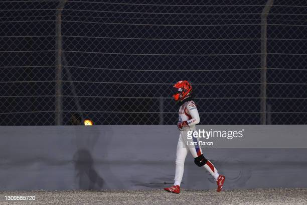 Nikita Mazepin of Russia and Haas F1 makes his way off the circuit after stopping on track during the F1 Grand Prix of Bahrain at Bahrain...