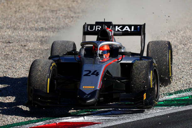 Nikita Mazepin of Russia and Hitech Grand Prix drives during the feature race for the Formula 2 Championship at Autodromo di Monza on September 05,...