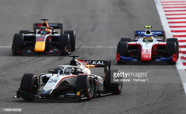 Nikita Mazepin of Russia and Hitech Grand Prix leads Robert Shwartzman of Russia and Prema Racing and Yuki Tsunoda of Japan and Carlin during the...
