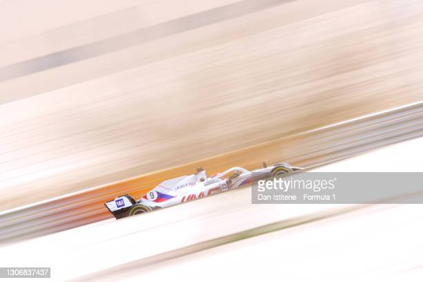 Nikita Mazepin of Russia driving the Haas F1 Team VF-21 Ferrari during Day Two of F1 Testing at Bahrain International Circuit on March 13, 2021 in...