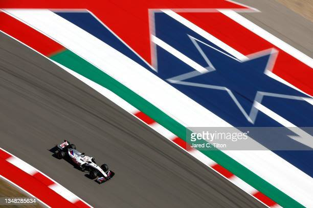 Nikita Mazepin of Russia driving the Haas F1 Team VF-21 Ferrari during final practice ahead of the F1 Grand Prix of USA at Circuit of The Americas on...