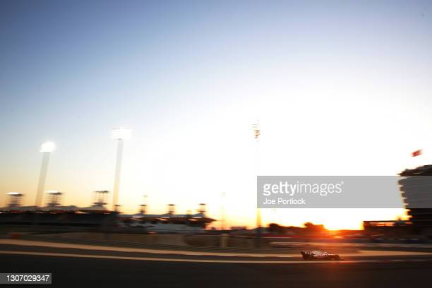 Nikita Mazepin of Russia driving the Haas F1 Team VF-21 Ferrari on track during Day Three of F1 Testing at Bahrain International Circuit on March 14,...
