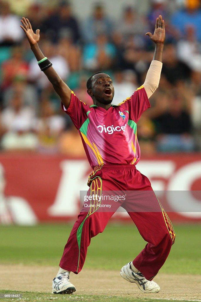Nikita Miller of the West Indies appeals for a wicket during the Twenty20 International match between Australia and the West Indies at Bellerive Oval on February 21, 2010 in Hobart, Australia.