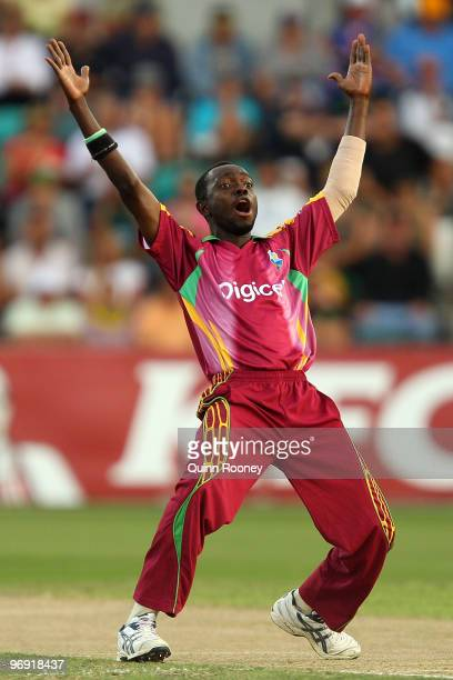 Nikita Miller of the West Indies appeals for a wicket during the Twenty20 International match between Australia and the West Indies at Bellerive Oval...